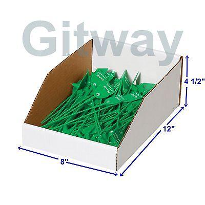 50- 8 X 12 X 4 12 Corrugated Cardboard Open Top Storage Parts Bin Bins Boxes