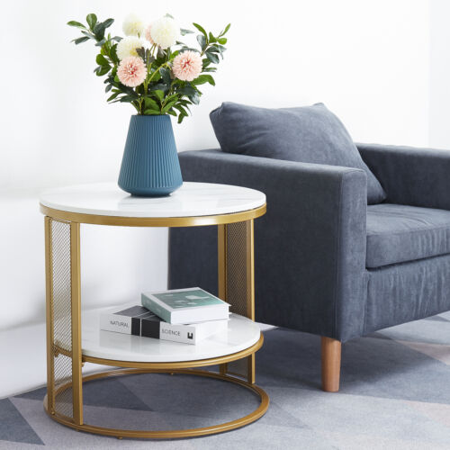 Faux Marble effect Set of 2 End Table Round Top Metal Frame Nesting Tables