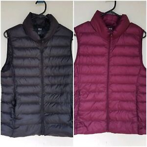 x2 Uniqlo Puffer Vest Ultra Light Black and Purple Packable Duck
