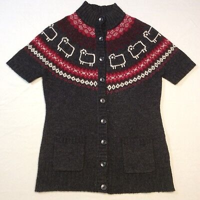 WoolRich Gray Red Sheep Button Cardigan Sweater 80% Lambswool SS Women's - Woolrich Nylon Cardigan