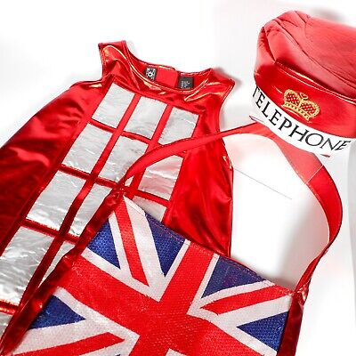 British Red Telephone Booth Box Girls S 7-8  Halloween Costume Mod Union Jack
