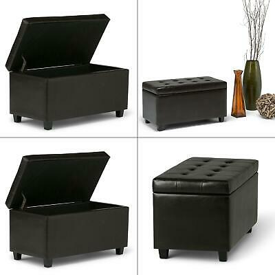 cosmopolitan tanners brown medium storage ottoman bench | leather faux home seat ()