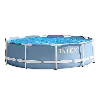 "Intex 10' x 30"" Prism Frame Round Above Ground Family Summer Swimming Pool"