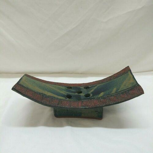 Terracotta Ikebana Pottery Platform Flower Frog Vase Green Blue Glaze Spirals