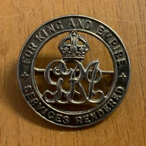 """THE SILVER """"SERVICES RENDERED"""" WAR BADGE - 12/9/1916. NO. 45102 - A1 CONDITION"""