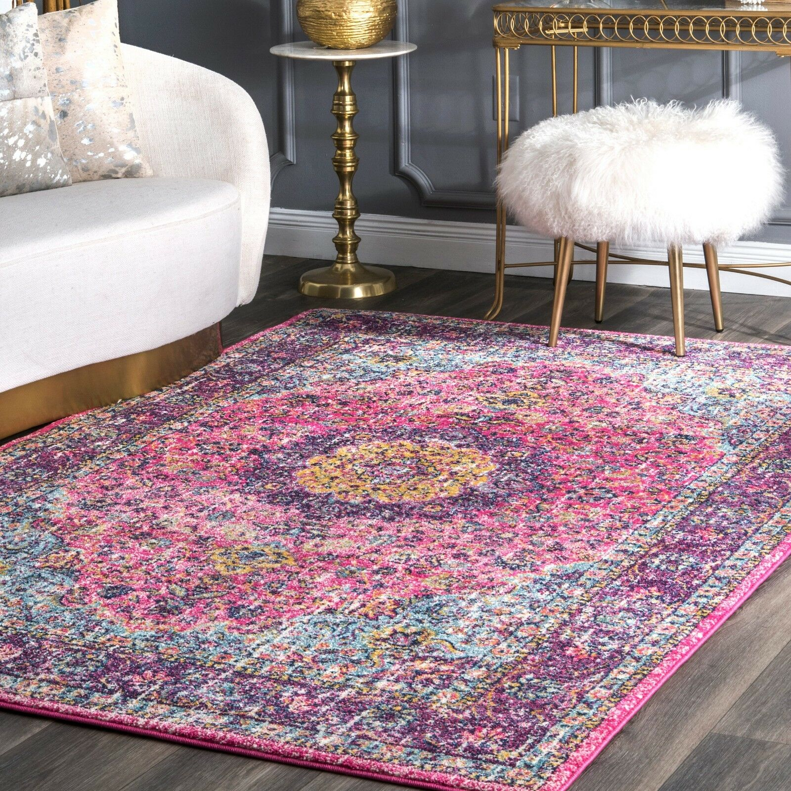 nuLOOM Traditional Oriental Distressed Area Rug in Pink, Pur