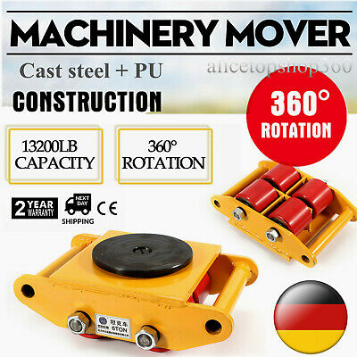 6t Heavy Duty Machinery Mover Machine Dolly Skate 4 Rollers Yellow 360 Rotation