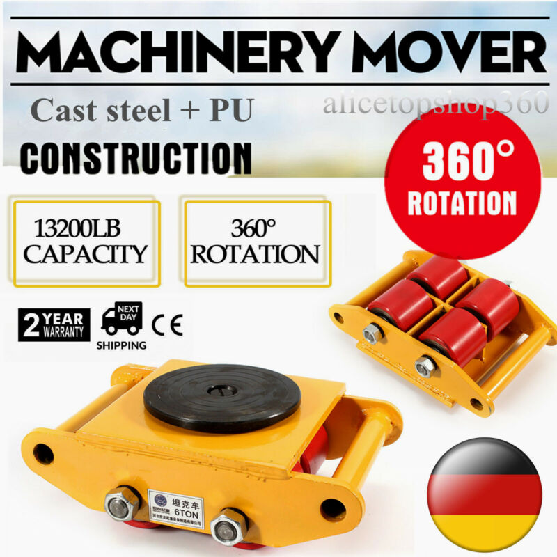 6T Heavy Duty Machinery Mover Machine Dolly Skate 4 Rollers Yellow 360° Rotation