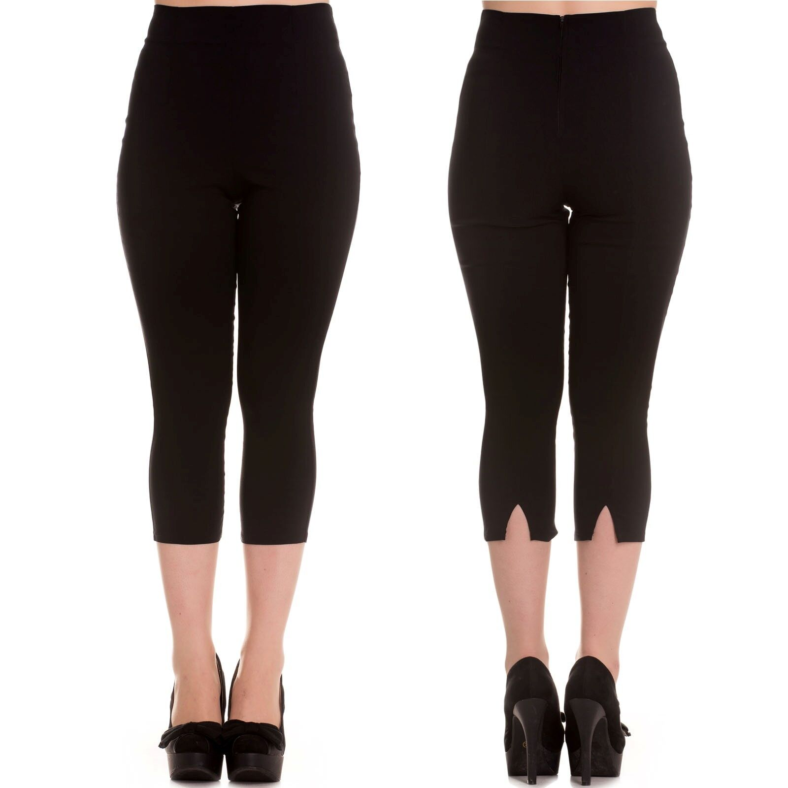ab4bc0c77c5 Details about Hell Bunny Tina Capris Black Pedal Pushers Rockabilly Retro  Regular   Plus Size