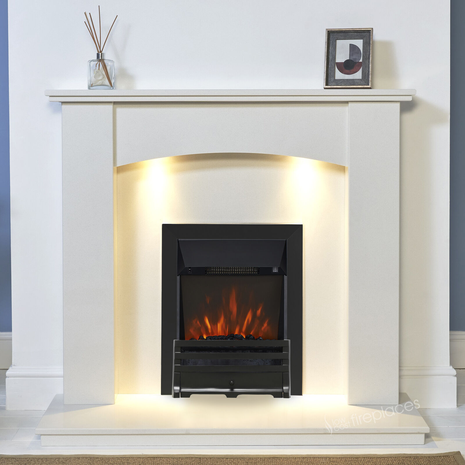 White Marble Curved Surround Black Electric Fire Pebbles Fireplace Suite Lights Ebay