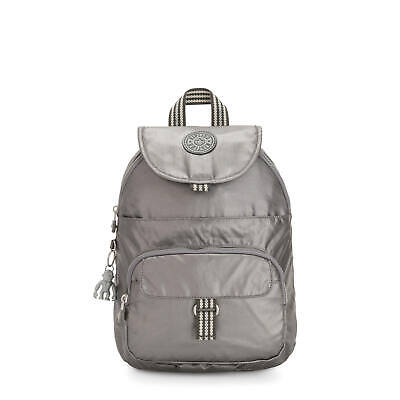 Kipling Queenie Small Metallic Backpack Carbon Metallic