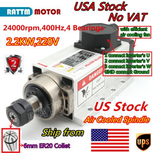 『USA』Square 2.2KW Air Cooling CNC Spindle Motor ER20 24000rpm 400Hz 220V Milling