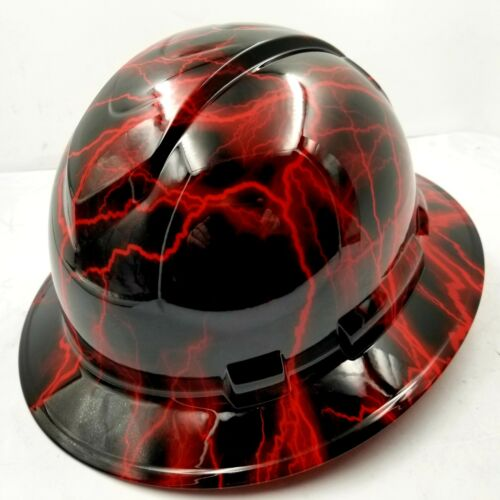 Hard Hat custom hydro dipped , OSHA approved FULL BRIM, CANDY RED LIGHTNING BOLT 1