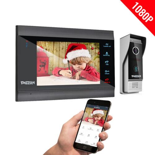 "TMEZON 1080P HD Wireless WiFi Smart Video Door Phone Intercom Kit 7"" IP Monitor"