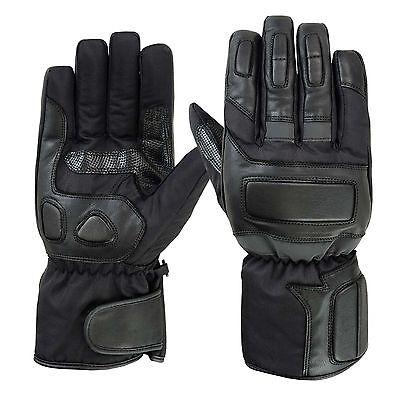 Spg Winter Gloves Men Full Finger Warm Genuine Leather Waterproof Black Medium M