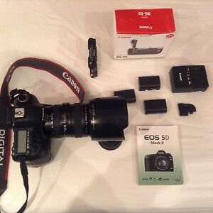 Canon 5d mark ii with battery grip and lens
