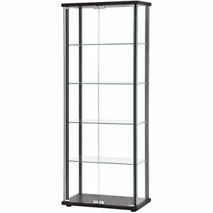 Merveilleux Glass Curio Display Cabinet Black Frame Glass Shelves