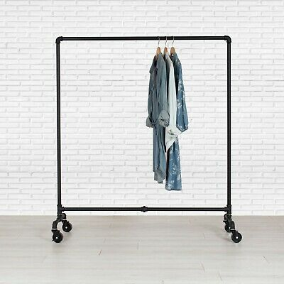 Industrial Pipe Rolling Clothing Rack - Dress Rack By William Roberts Vintage