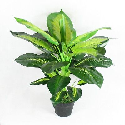 Artificial Dieffenbachia Plant 80 cm Potted Bush Leaves Home & Office Decor