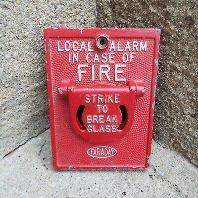 Vintage Faraday Fire Alarm Strike To Break Glass Cover Local Alarm - Very Neat