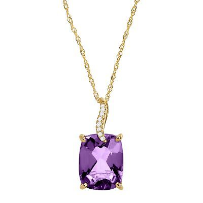 2 7/8 ct Natural Amethyst Pendant with Diamonds in 14K Gold