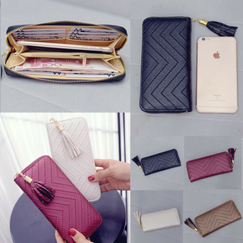 $6.59 - Fashion Women Leather Card Holder Long Wallet Clutch Tassel Handbag Purse Tote
