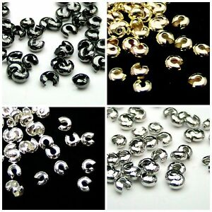 4mm-3-2mm-Round-Crimp-Cover-Findings-Craft-Beading-Silver-Gold-Plated-ML