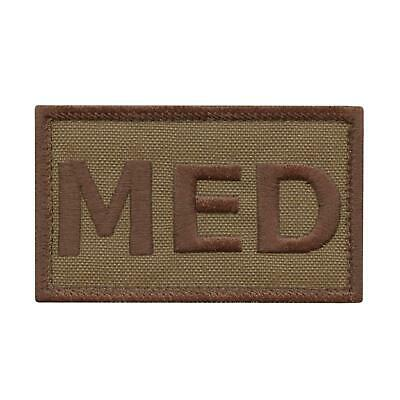 MED combat medic tan embroidered coyote tactical morale EMS paramedic hook patch