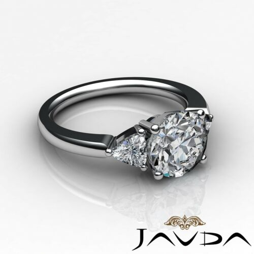 GIA Certified Round Diamond Engagement F SI1 Platinum 3 Three Stone Ring 2.05ct
