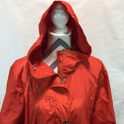 Michael Kors Red Hooded Full Zip Gold Metal Snap Rain Coat Jacket Pocket 1X SS13