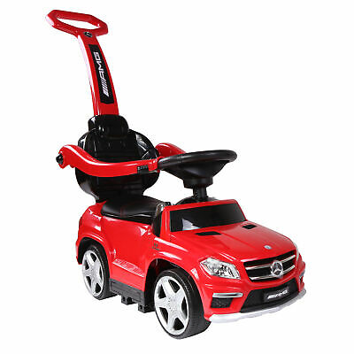 Best Ride On Cars Baby 4-in-1 Mercedes Push Car Stroller with LED Lights, Red