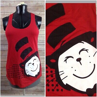 Womens Dr. Suess Red Black White Cat in the Hat Tank Top Sz L Sleeveless
