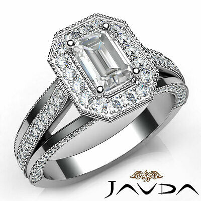 Halo Pave Set Emerald Diamond Engagement Ring GIA H VVS2 18k White Gold 1.40Ct