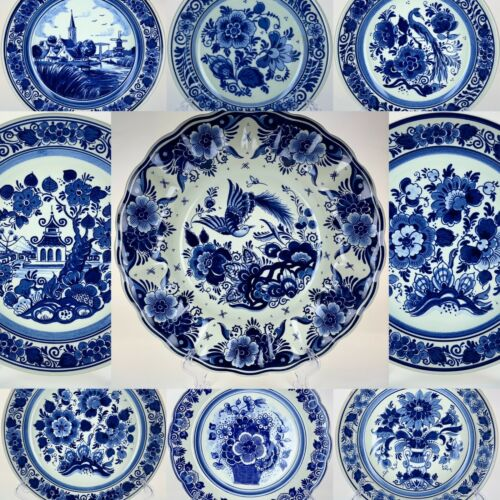 Vintage Original Royal Delft Blue Blauw Holland Hand Painted Floral Wall Plates