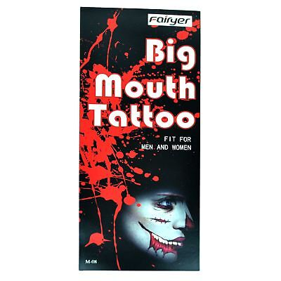 Big Mouth Temporary Halloween Tattoos Costume Fancy Dress Zombies Scars Make Up - Halloween Zombie Mouth Makeup