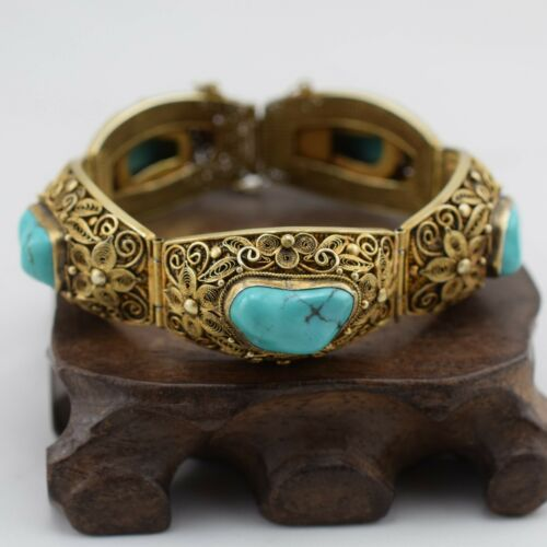 Antique chinese filigree handmade sterlingsilver bracelet with natural Turquoise