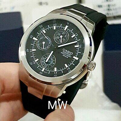 Casio EF-305-1AV 3-Eye Analog Men's Chrono Day Date Black Resin Band 100M Watch