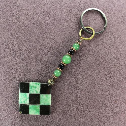 HARLEQUIN CHESSBOARD CHECKERED KEY CHAIN Ring Black Stone Green Jade Aventurine