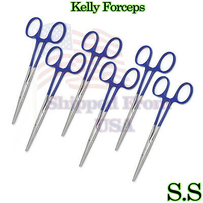 Blue - 6 Kelly Hemostat Forceps 5.5 Straight Surgical Dental Instruments
