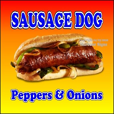 Sausage Dog Decal Choose Your Size Peppers Onion Concession Food Truck Sticker