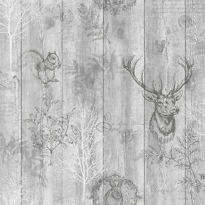 Holden Decor Wood Panel Effect Stag Animal Trees Grey Silver Wallpaper 90090