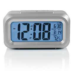 Mainstays LCD Alarm Clock with Automatic Backlight Battery Powered Silver Small