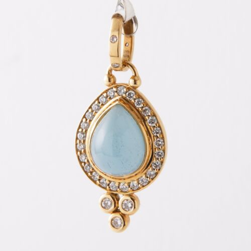 Temple St. Clair 18k, Diamond And Aquamarine Pendant