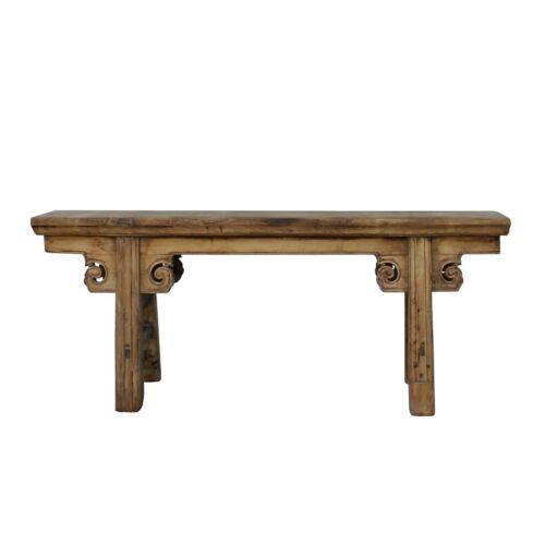 Vintage Chinese Slim Carving Apron Wood Seating Bench cs5496