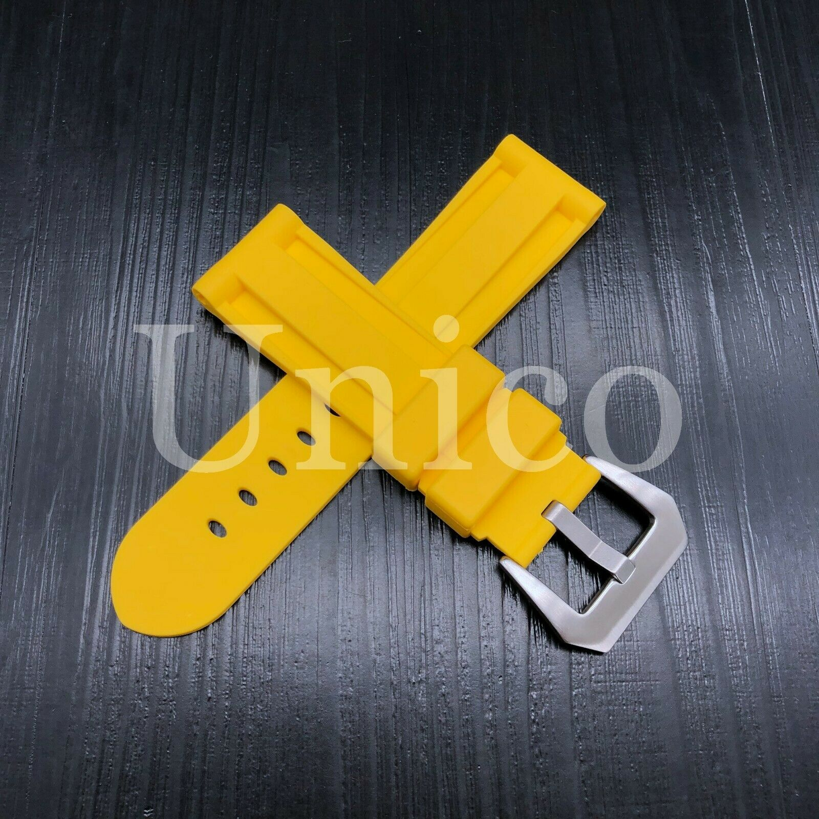 22 MM Yellow Rubber Silicone Strap Band Soft Vintage Replace