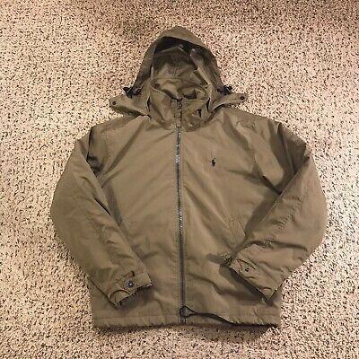 Vtg Polo Ralph Lauren Fleece Lined Jacket W/ Hidden Hood • Small Olive Green
