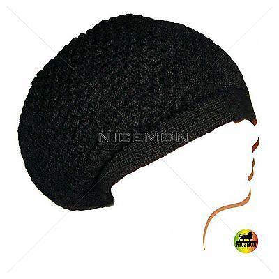Tam Hat (Black Rasta Dread Dreadlocks Tam Hat Beret Cap Hippie Reggae Marley Jamaica)