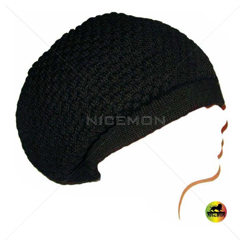 Black Rasta Dread Dreadlocks Tams Hat Beret Cap Hippie Reggae Marley Jamaica M/L