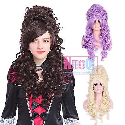 Women Modern Marie Antoinette Victorian Renais Lolita Long Wavy Cosplay Wigs US](Marie Antoinette Wigs)