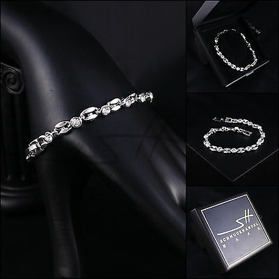 Armband, Armschmuck, Bracelet *Bohne* Weißgold pl., Swarovski Elements, +Etui